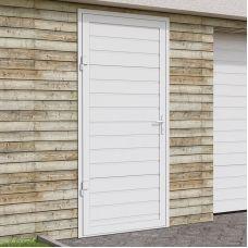 Гаражная боковая дверь Alutech SDN-2 (1000x2050), S-гофр, RAL 9016, левая