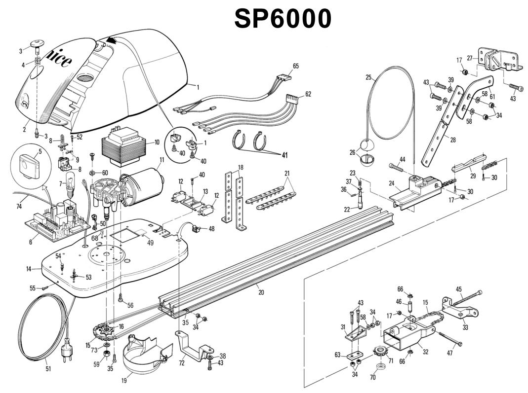 Сборочный чертеж привода Nice SP6000